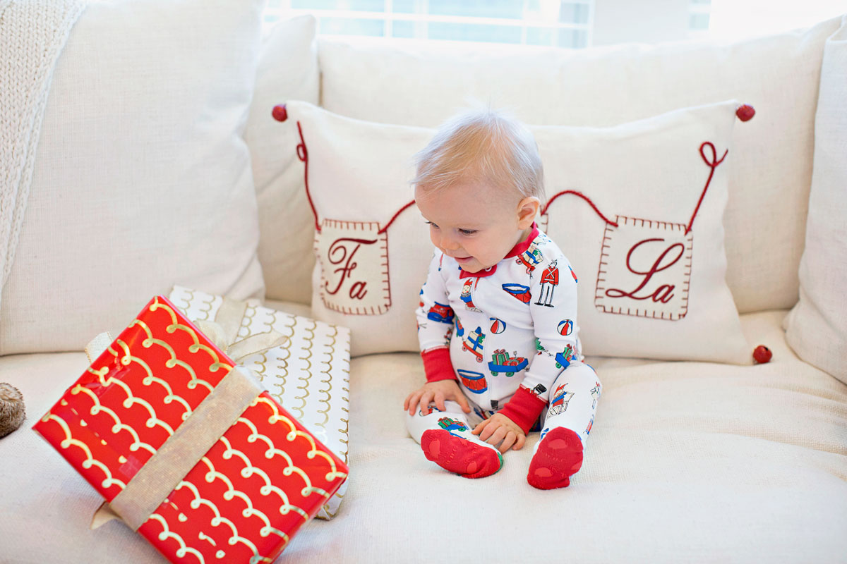 baby boy Christmas pajamas, Christmas pillow