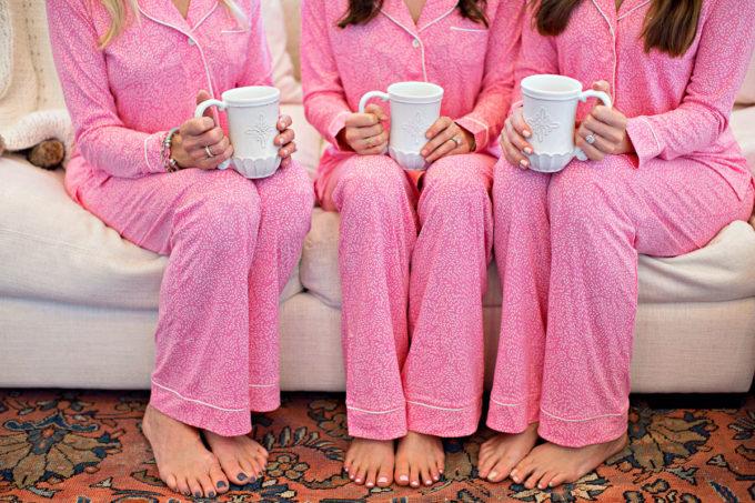 pink Christmas pajamas, white coffee mugs