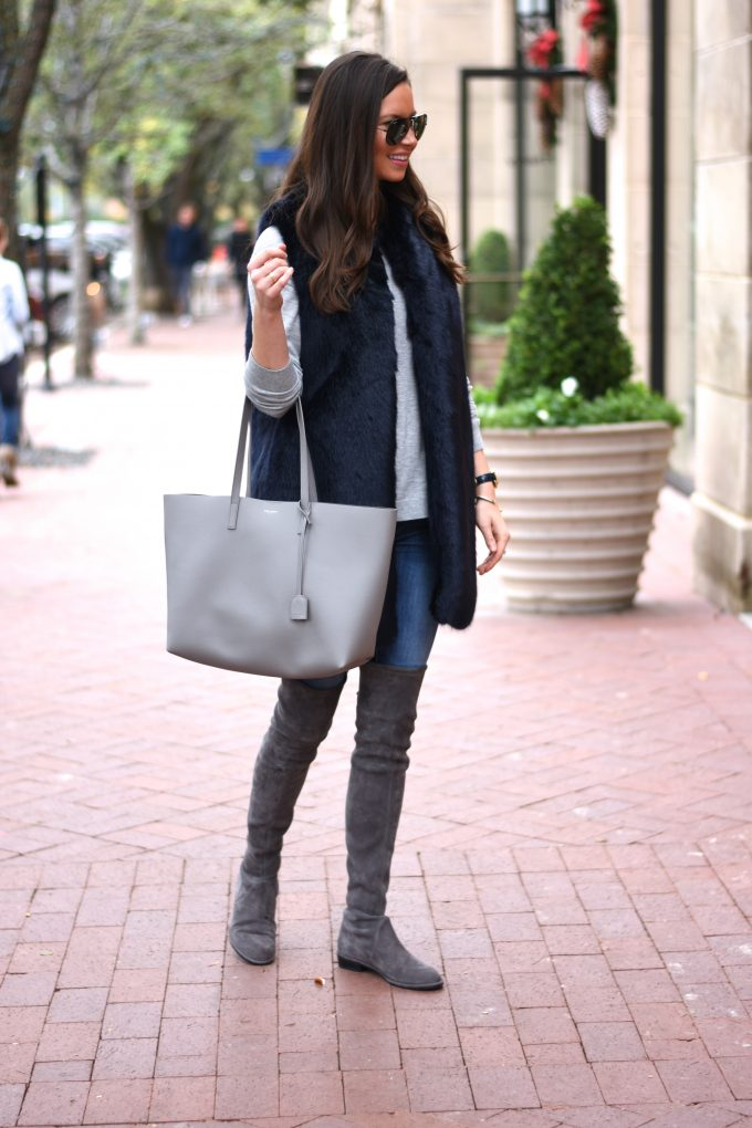 grey tote bag, grey suede over the knee boots, grey sweater