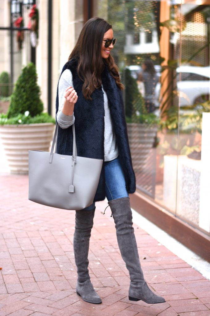 grey suede over the knee boots, grey tote bag, grey long sleeve sweater
