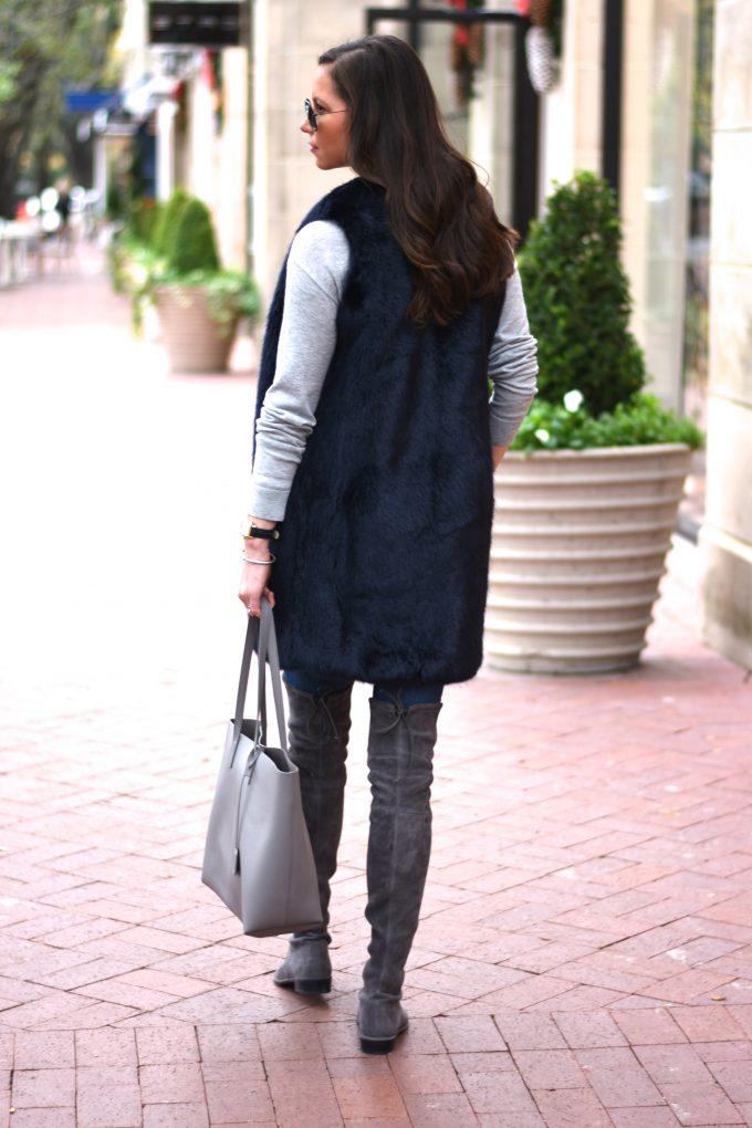 blue faux fur vest, grey suede over the knee boots