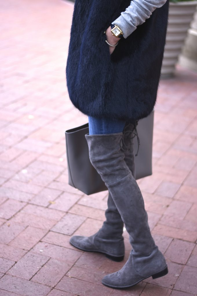 grey suede over the knee boots, navy blue faux fur vest