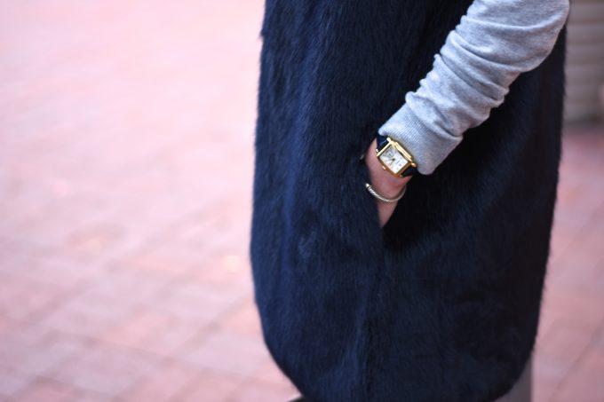 blue faux fur vest, ladies gold watch with navy alligator strap
