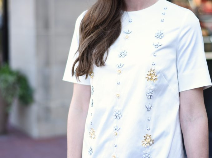 white dress with embellished front