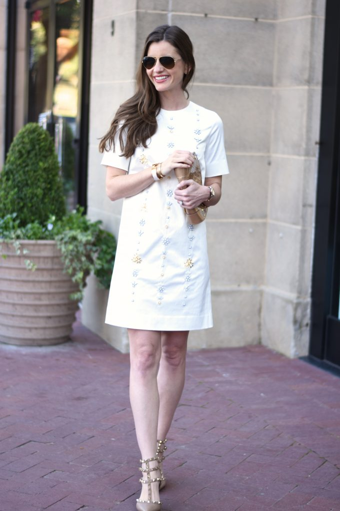 white party dress with embellished front