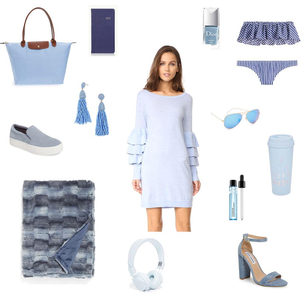 blue ruffle sweater dress, faux fur throw, jcrew ruffle swim