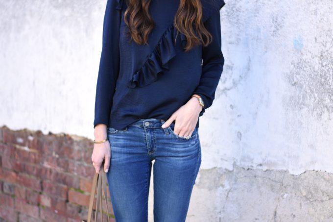 navy blue ruffle top