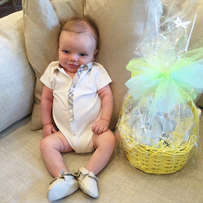 baby boy with easter basket