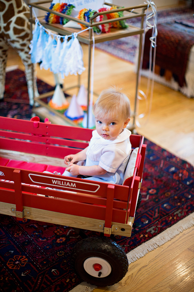 baby boy in wagon