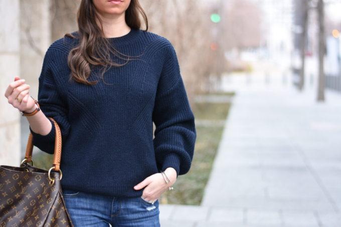 navy blue oversized sweater