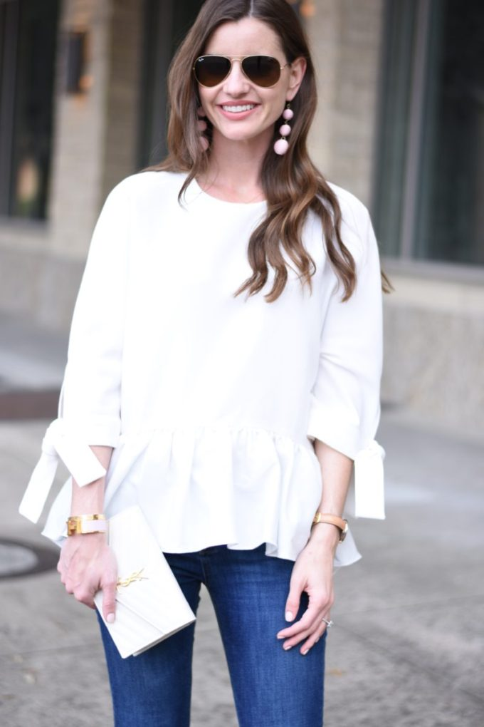 white ruffle hem top with tie sleeves