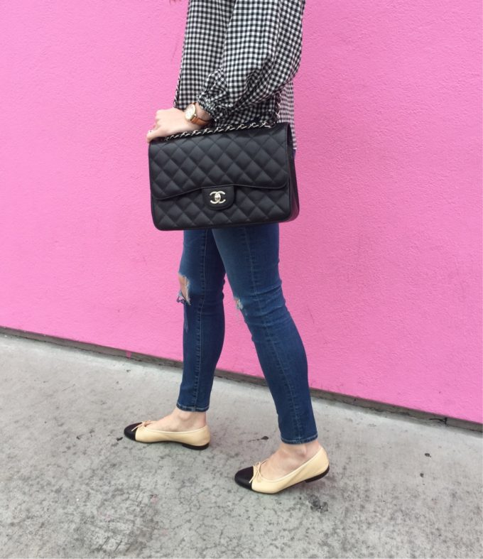 chanel hanbag and flats with distressed jeans and gingham top
