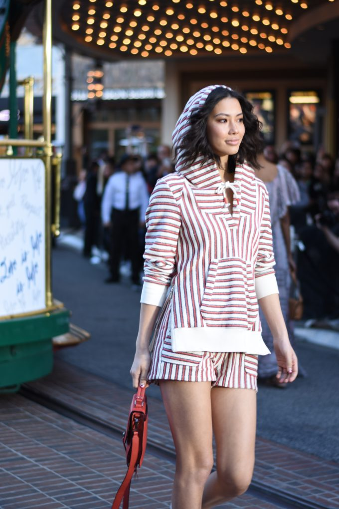red and white stripe terry beach coverup