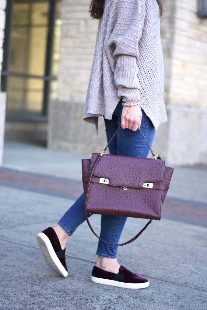burgundy handbag, burgundy velvet sneakers