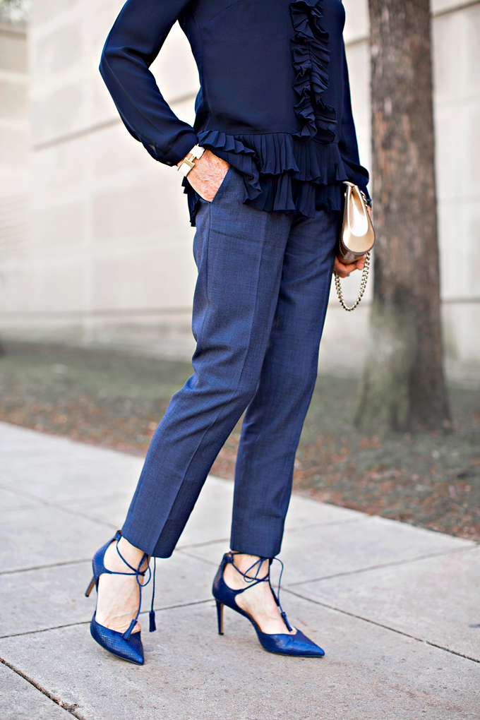 navy blue pants and heels