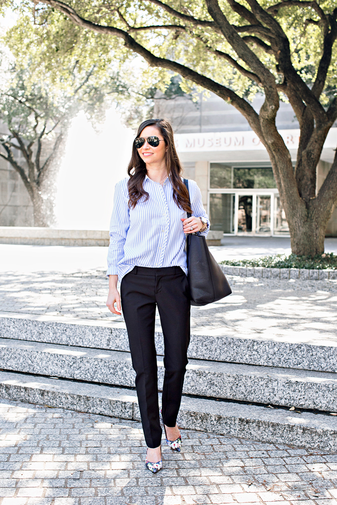 blue and white striped button down with black pants