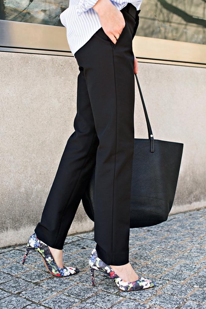 black pants with floral pumps
