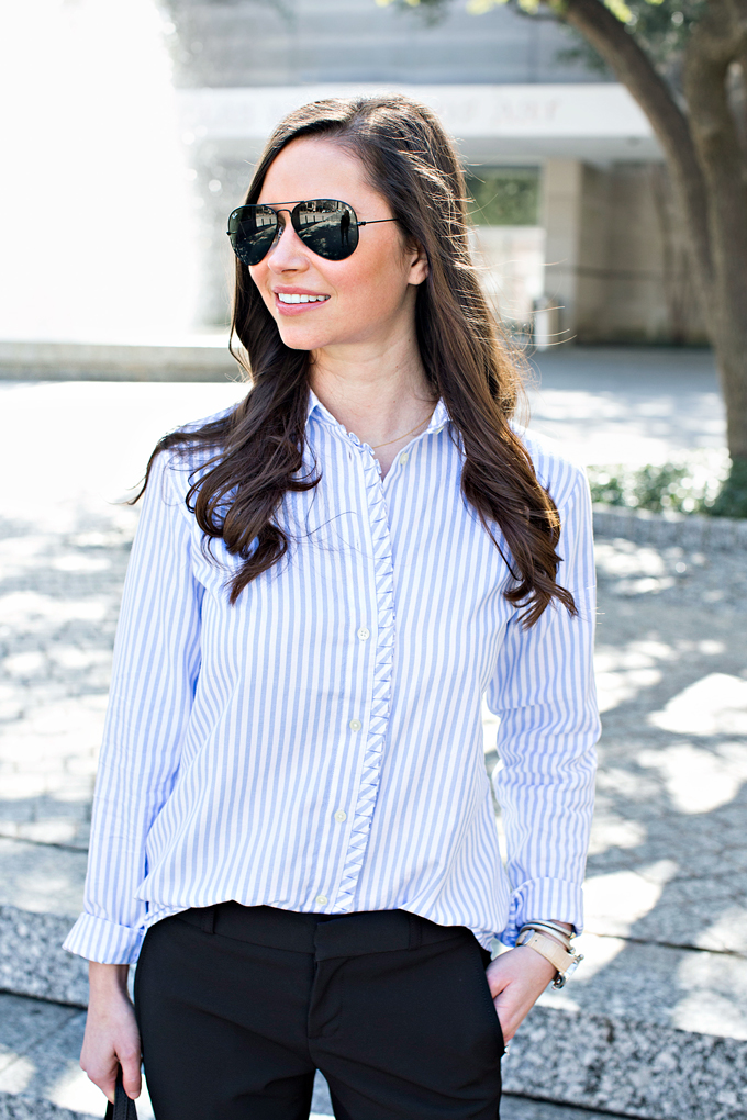 button down shirt with ruffle placket
