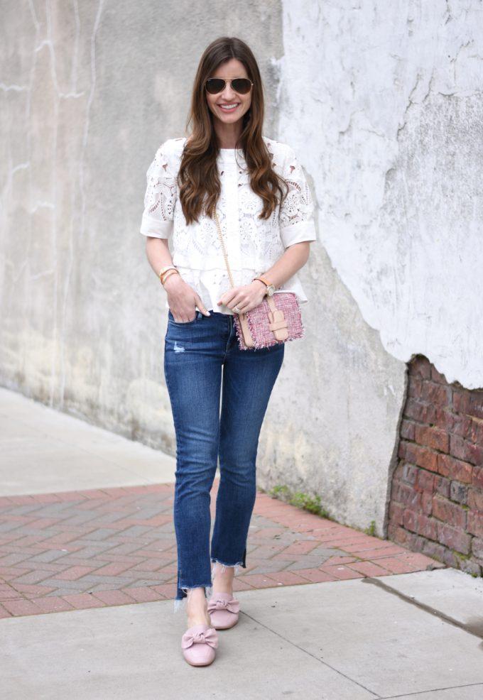 eyelet top, jeans and pink tweed handbag