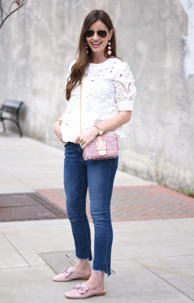 white eyelet top, pink tweed bag, blush pink slide on loafers