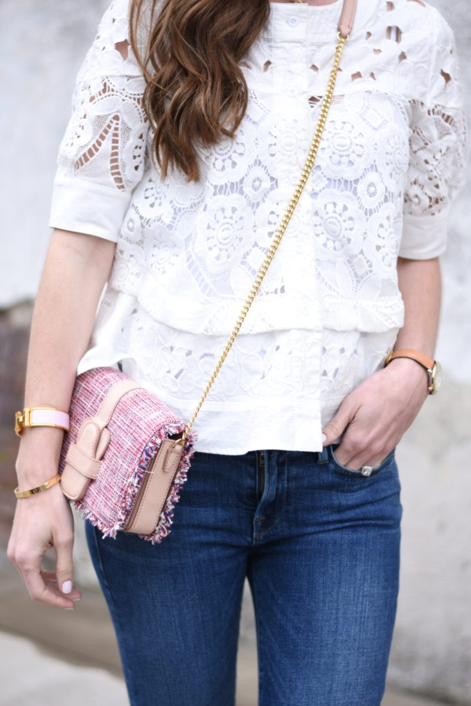 white lace top, pink tweed cross body bag