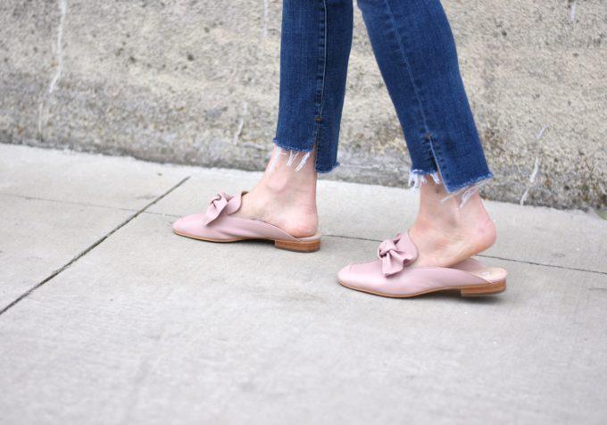 split hem jeans, blush pink bow loafers