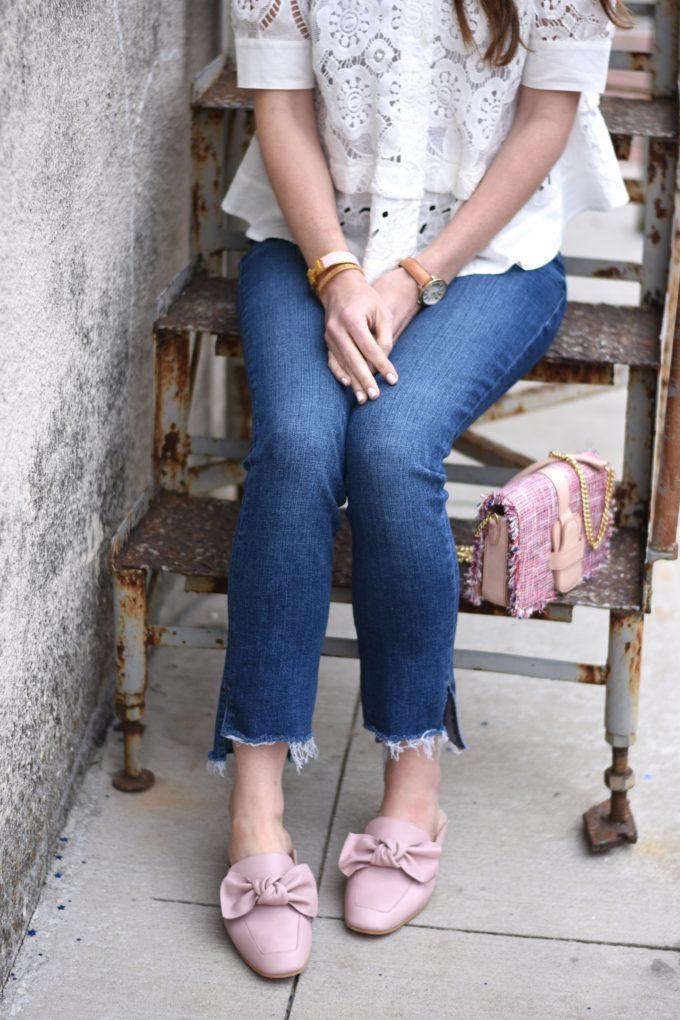 blush pink bow loafers, pink tweed handbag