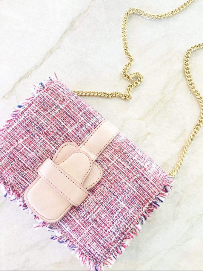 pink tweed cross body bag