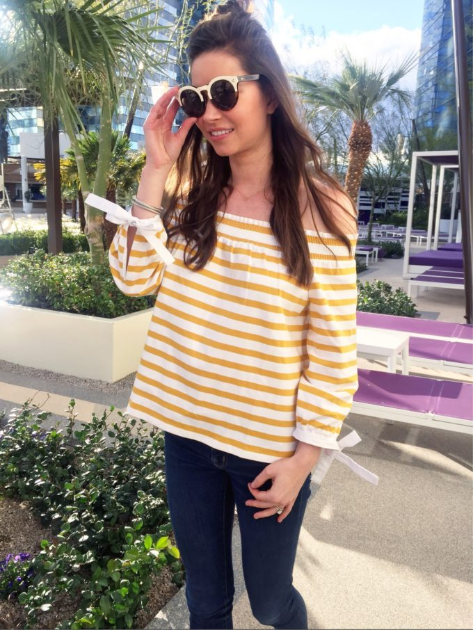 yellow and whote striped off the shoulder top