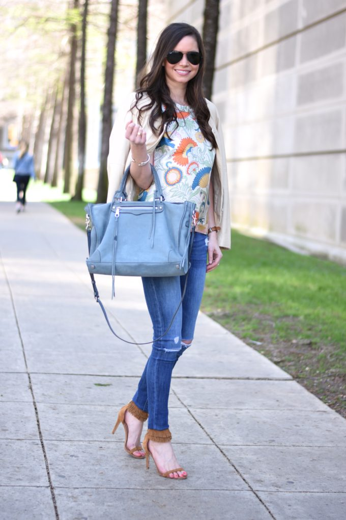 paisley top, distressed jeans, heeled fringe sandals, blue suede bag