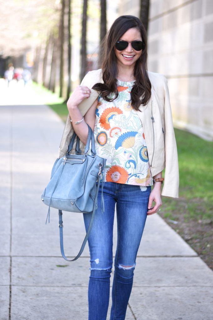 paisley top, nude leather jacket, blue handbag