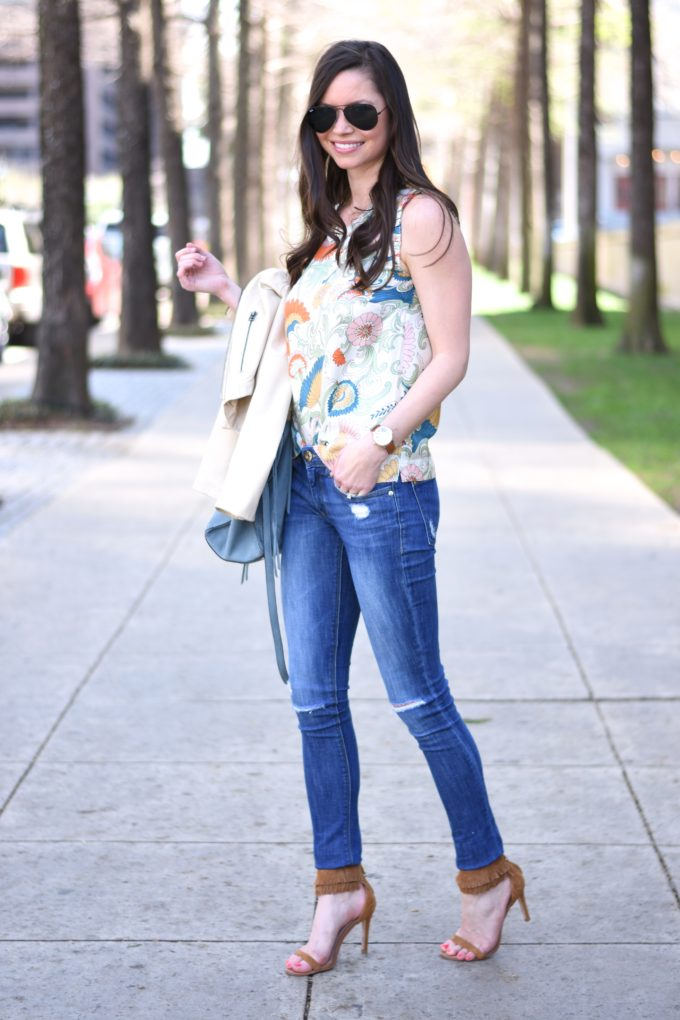 paisley top, distressed jeans