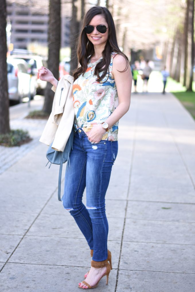 paisley top, distressed jeans,