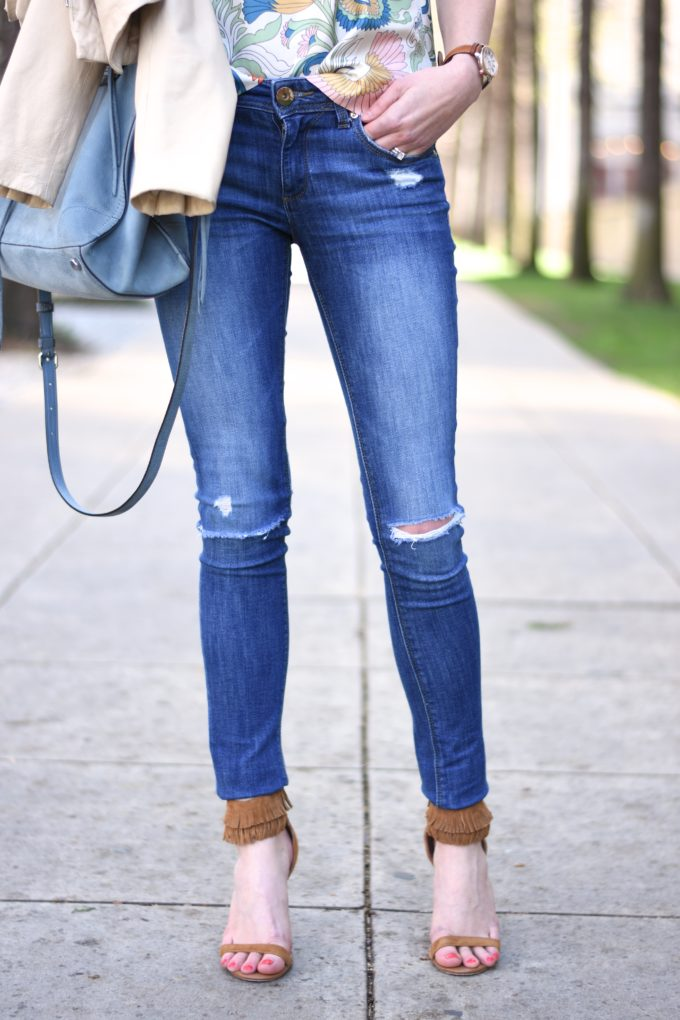 distressed jeans, fringe sandals