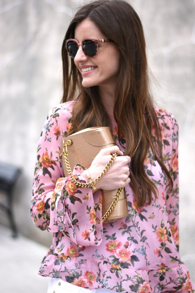 floral ruffle sleeve top, gold clutch