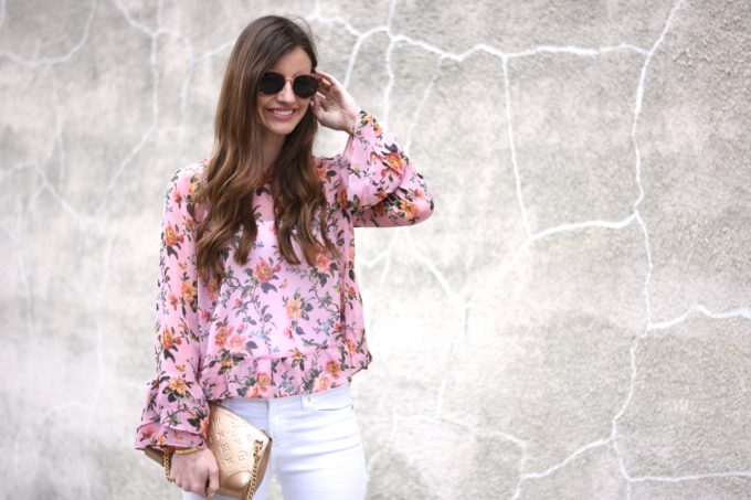 floral top with ruffle sleeves and hem