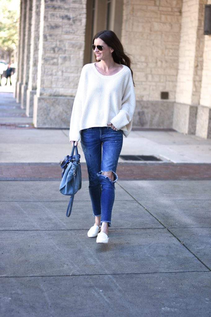oversized sweater with distressed jeans