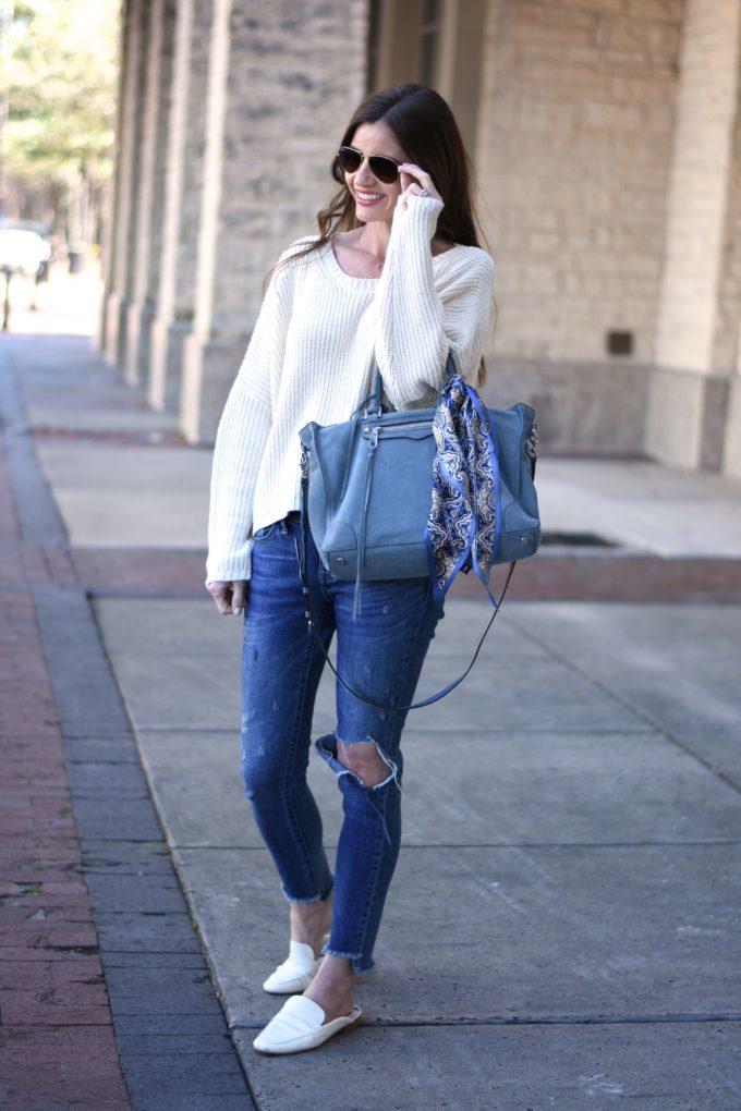 blue suede handbag, white oversized sweater