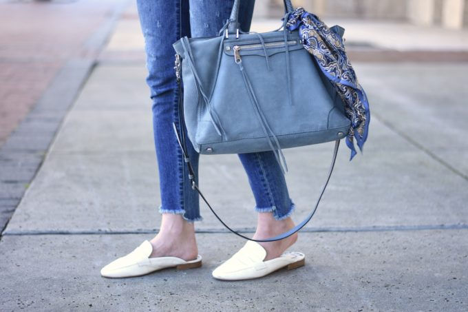 blue suede handbag with scarf, white slip on loafers