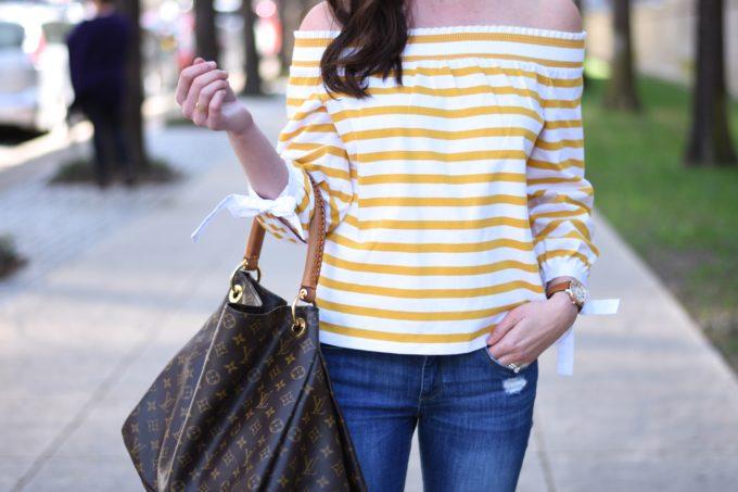 yellow off the shoulder top, hobo bag