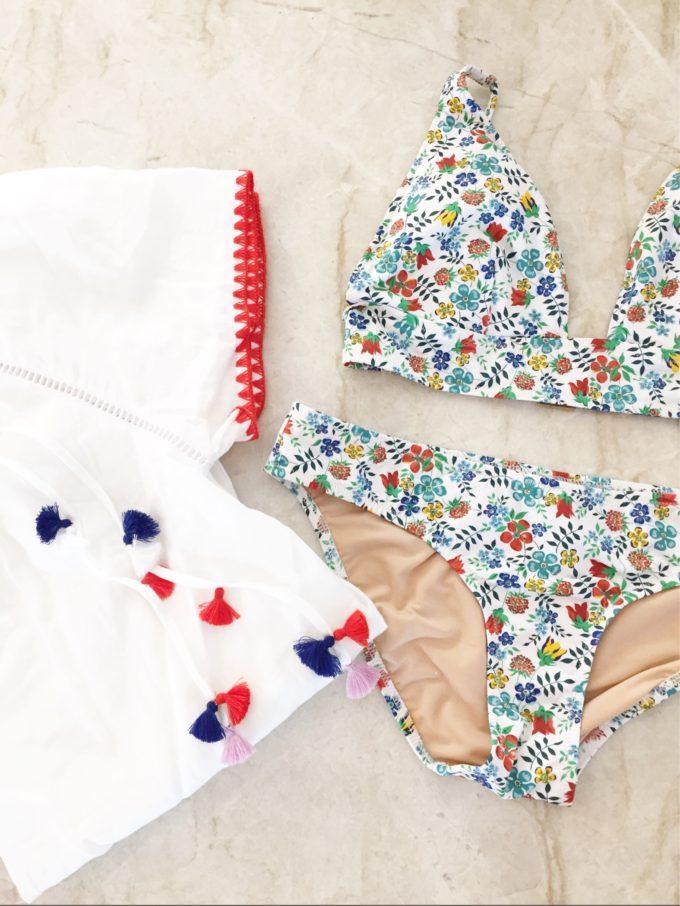 floral swimsuit, j.crew swim, tassel cover up