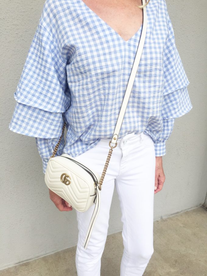 blue and white gingham top, white cross body bag