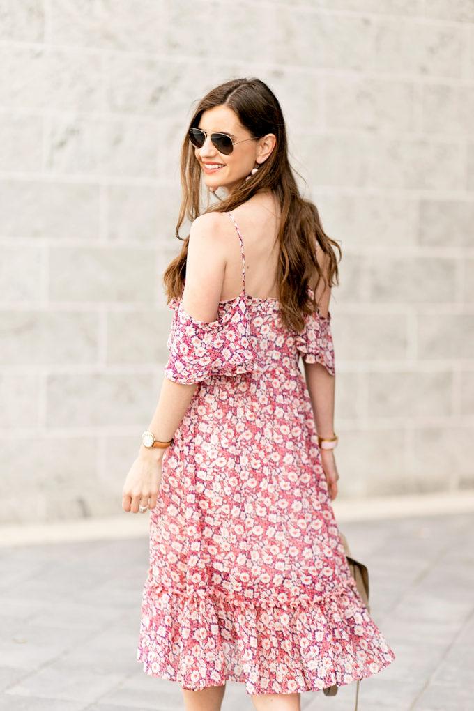 back view of floral cold shoulder dress