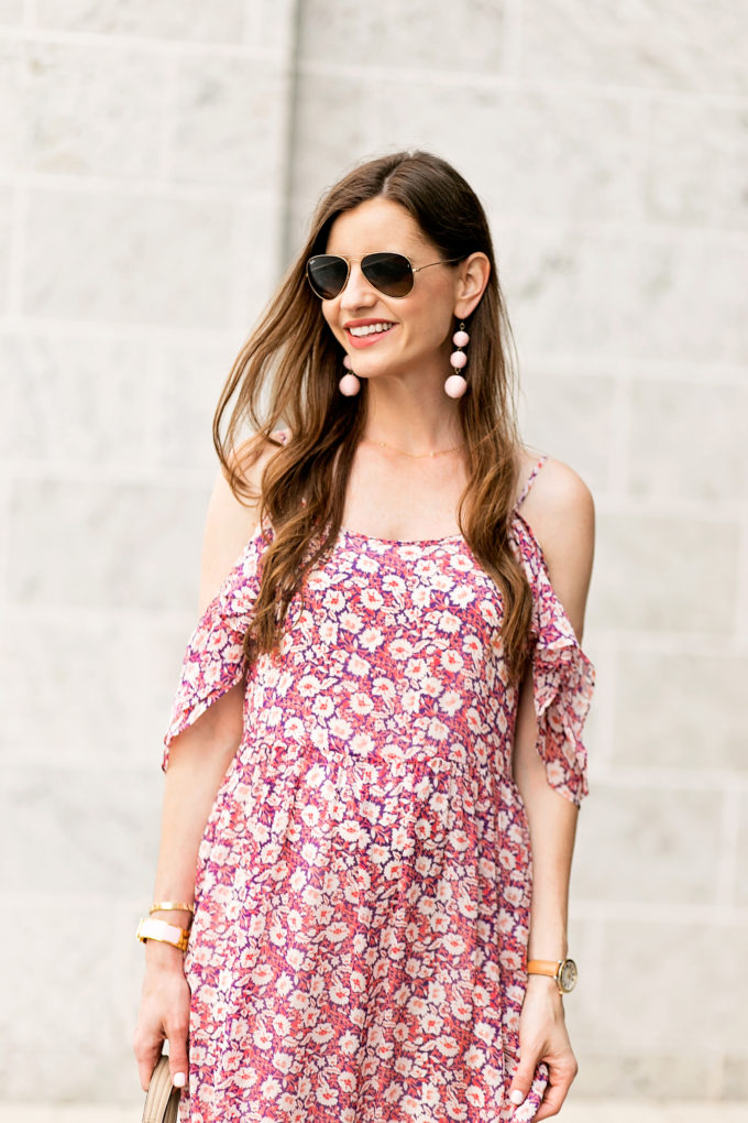 floral cold shoulder dress, statement earrings