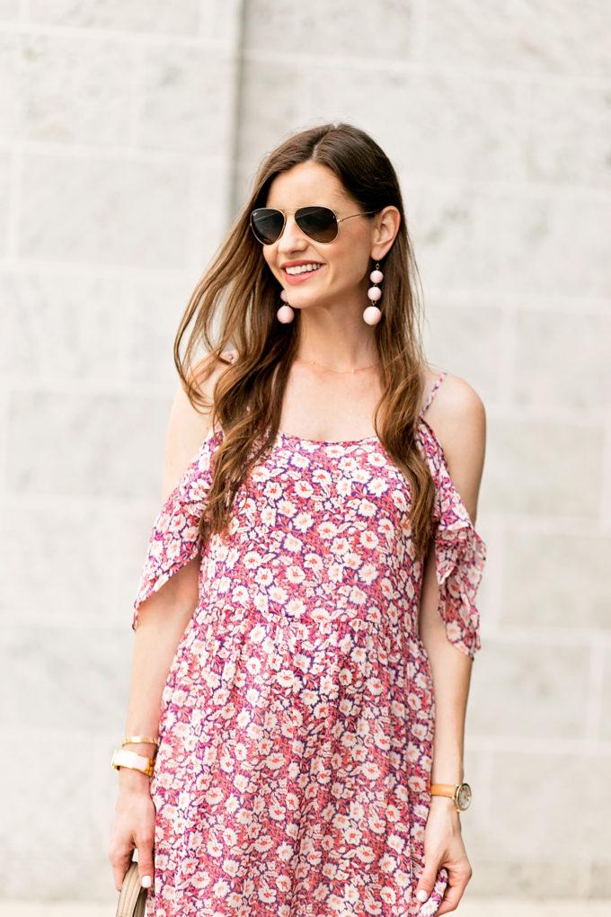 floral cold shoulder dress, statement earrings