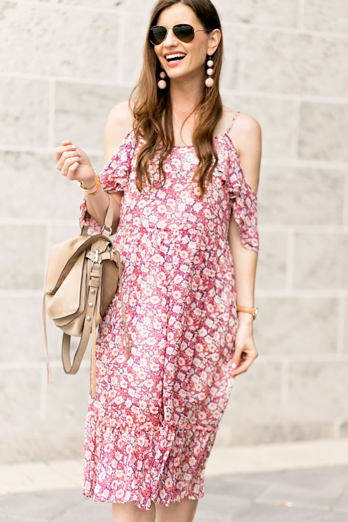 tan suede handbag, floral dress