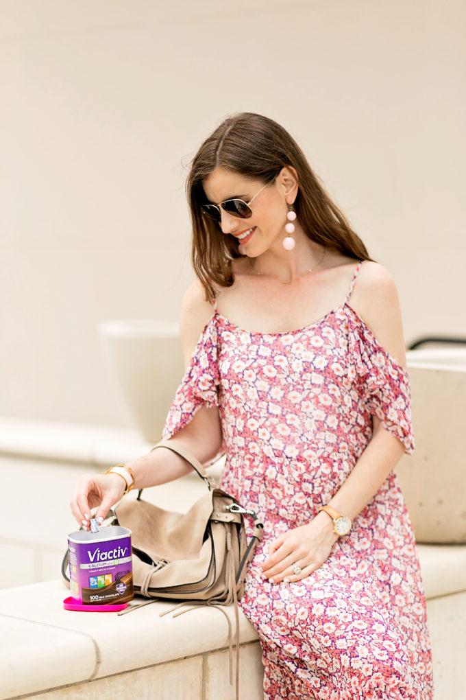 floral cold shoulder dress, calcium chews