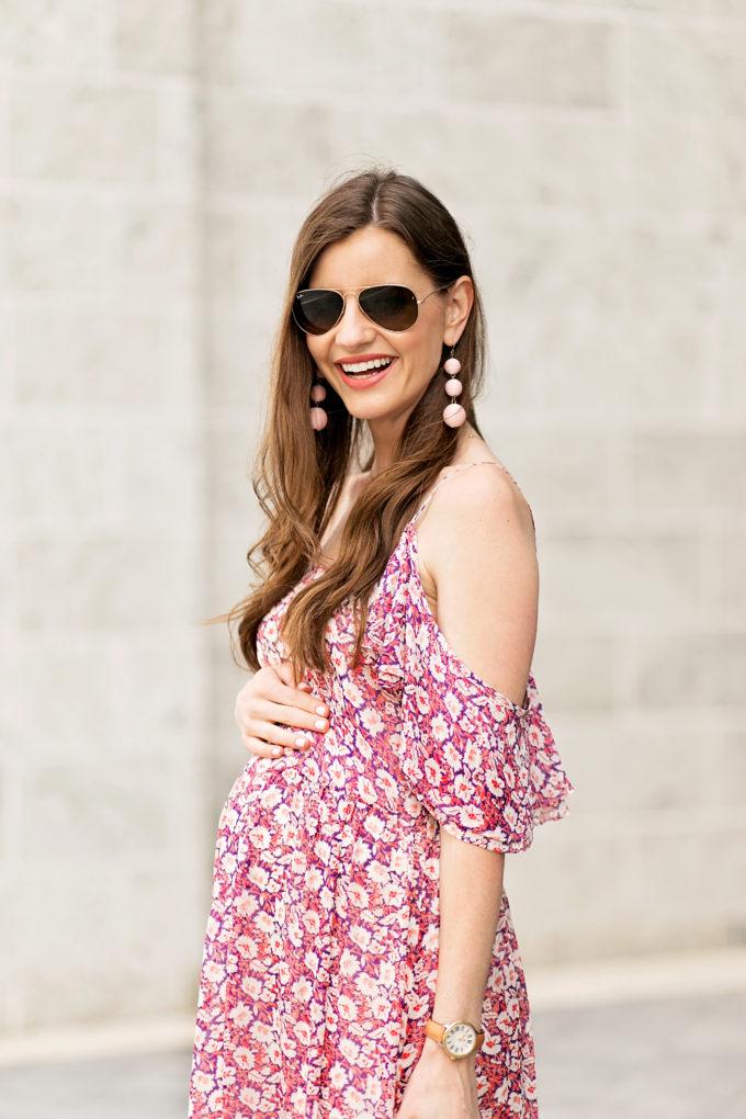 floral cold shoulder dress, drop earrings