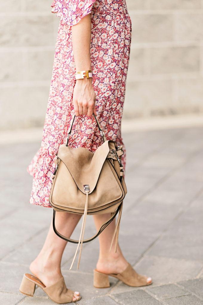tan suede handbag, floral dress