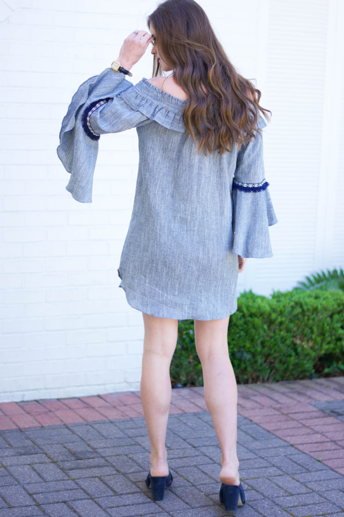 blue dress with bell sleeves